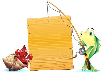 Pesce Pescatore con Pannello-Cartoon Fisher Fish with Panel