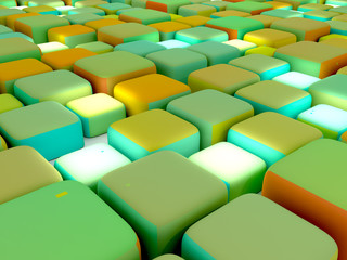 Abstract Cubes Colorful Side