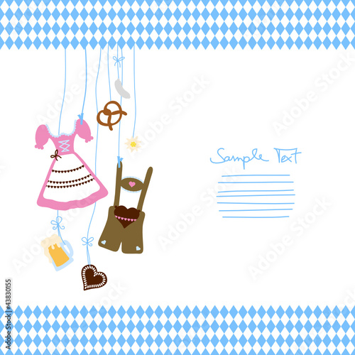 Octoberfest Symbols & Pattern Blue/White