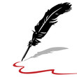 Feather pen ink calligraphic