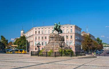 Bogdan Khmelnitsky monument at Sofiyska Square in Kyiv, Ukraine