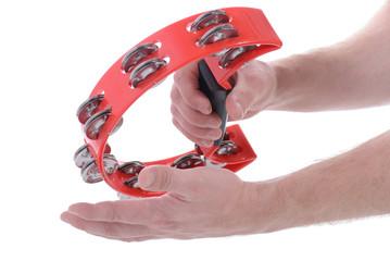 red musical tambourine