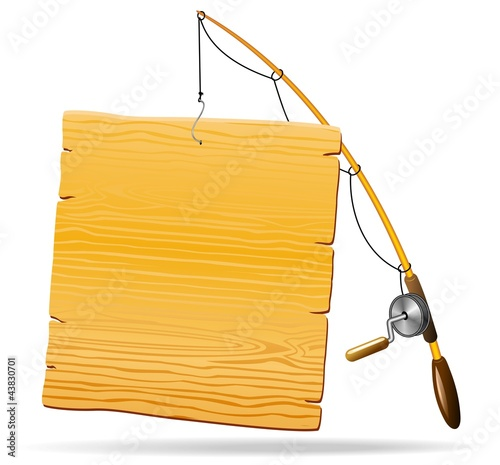 Canna da Pesca con Pannello-Fishing Rod with Wooden Panel-Vector
