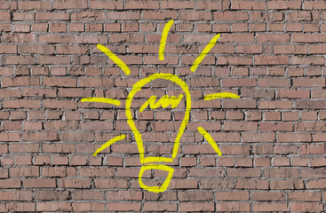 Idea sign on brick seamless wall