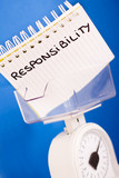 job responsibility, balance measuring pros & cons poster