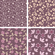 Pastel purple and cream seamless floral patterns