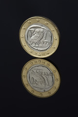 Euro. Greek euro coin on black background