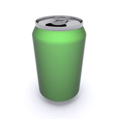 3D rendered green aluminum drink can