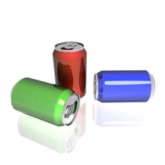 3D rendered color aluminum drink cans