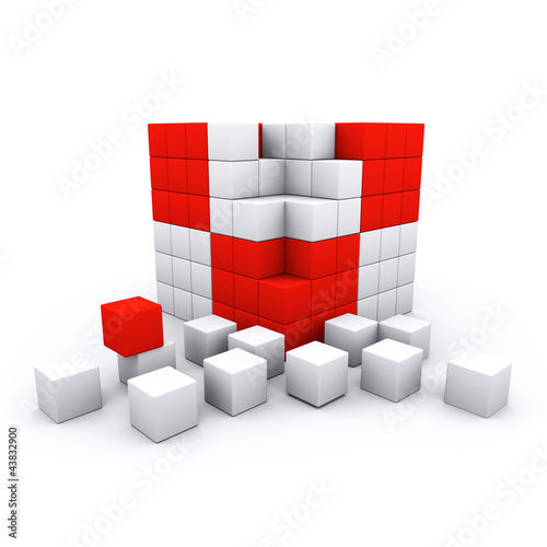 3D rendered teamwork concept - cube and blocks