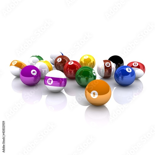 3D rendered isolated Billiard balls
