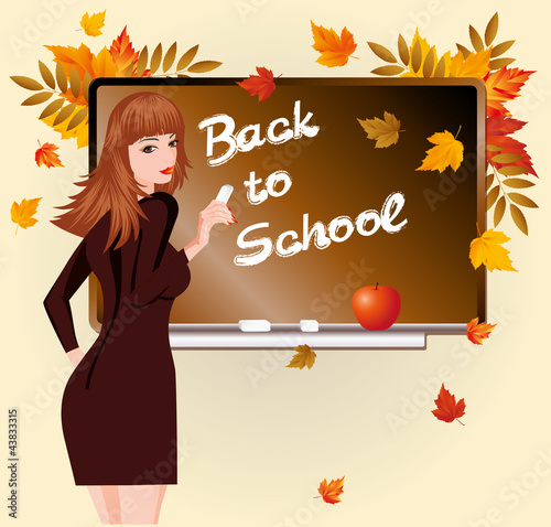 Back to school. Beautiful schoolteacher and apple.