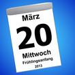 Leinwandbild Motiv Kalender auf blau - 20.03.2013 - Frühlingsanfang