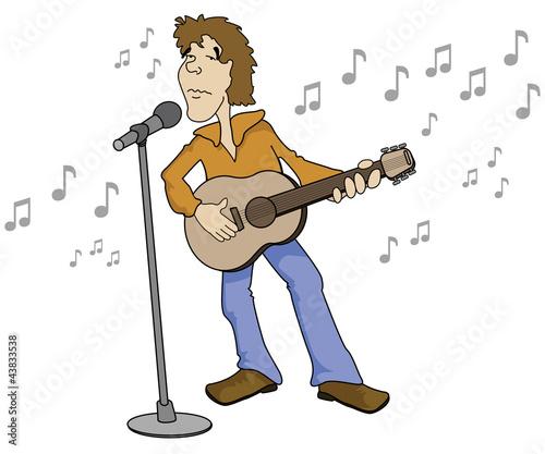 Cartoon Guitar Singer