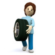 3D Character tyre change