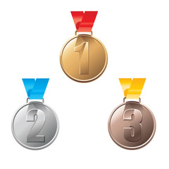 Medal awards for first, second and third place