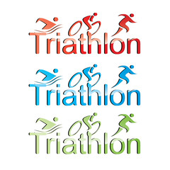 Vector triathlon symbol set