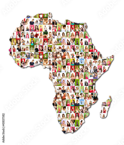map of africa with a lot of people portraits
