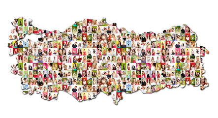 map of turkey with a lot of people portraits