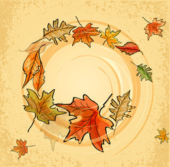 Vector vintage background with autumn leaves