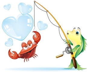 Pesce e Granchio Innamorati Cartoon Fish and Crab in Love-Vector