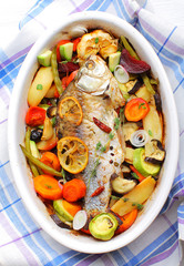 fried fish with roasted vegetables