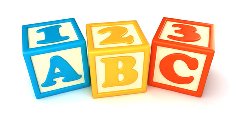 123 and ABC building blocks with apple on white background