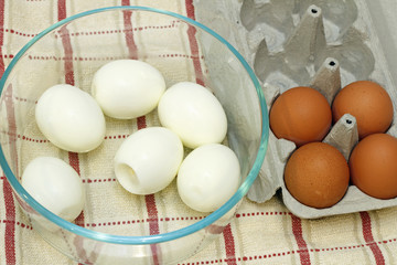 Boiled and Raw Eggs