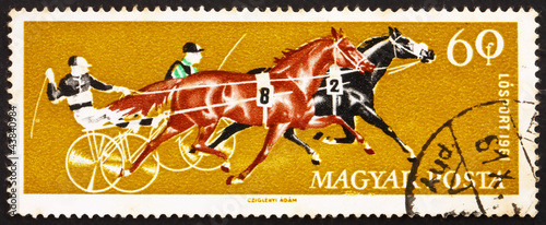 Postage stamp Hungary 1961 Two Trotters, Horse Racing