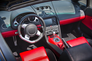 Sports car interior in red leather