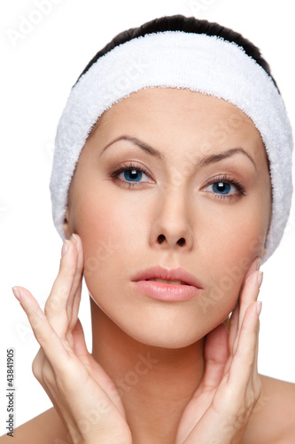 poster of After making a facelift, close up, isolated, white background
