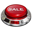 Sale button, 3d red glossy metallic icon