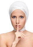 Keeping a secret of a facelift, isolated, white background poster