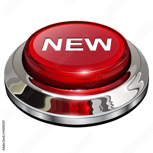 New button, 3d red glossy metallic icon