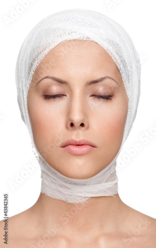 poster of Successful facelift, isolated, white background