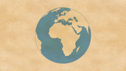 Animation of Planet Earth, made of paper, rotating on a paper.