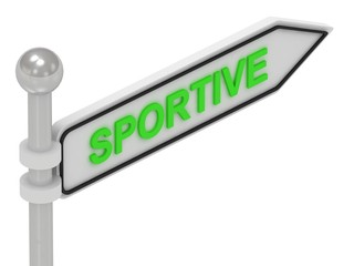 SPORTIVE arrow sign with letters