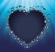 blackboard heart drop water blue