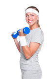 woman posing with blue dumbbells