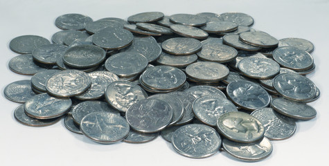 Pile Of Quarters Coins On Grey Background