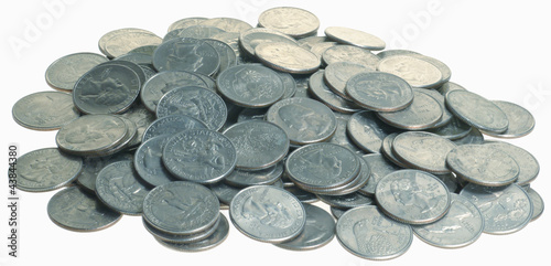 Pile Of Quarters Coins No Shadows Reflective