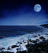full moon and wil sea in the night