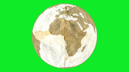 Animation of paper Earth, rotating on green screen.