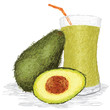 avocado fruit and avocado juice isolated
