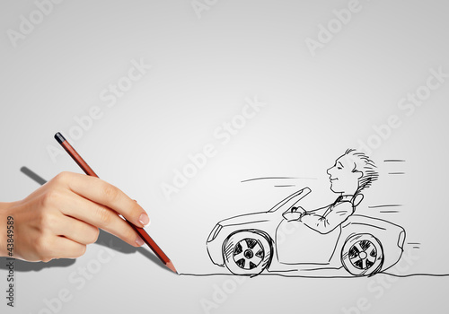 Drawing of a man in a car