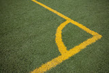 Soccer (football) field corner with yellow lines