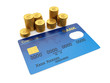 3d illustration: Keeping money in the credit card. Group of gold