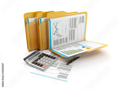 3d illustration: Business idea. The group folders with documents