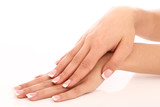 Fototapety Hands with beautiful french manicure
