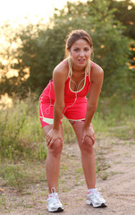Beautiful woman at an evening jog